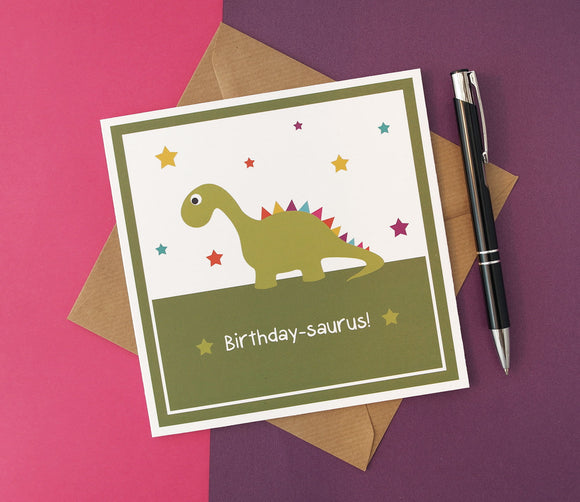 Birthday-saurus Rainbow Dinosaur Unisex Birthday Card