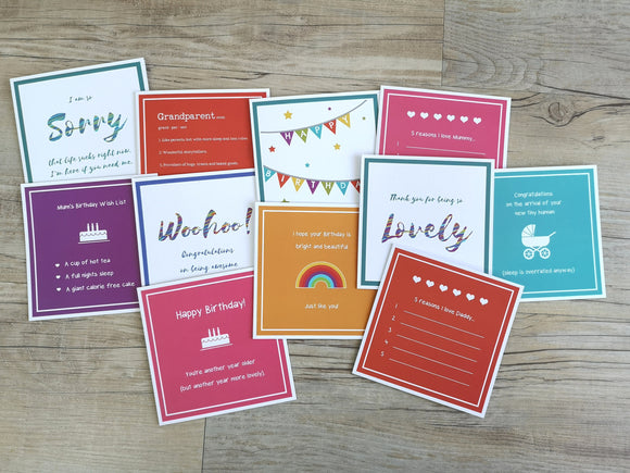 Value Pack of 5 Bright Affirmative Greetings Cards