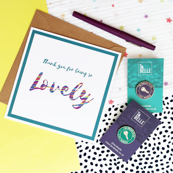 Key Worker Thank You Bundle - Enamel Pin and Greetings Card