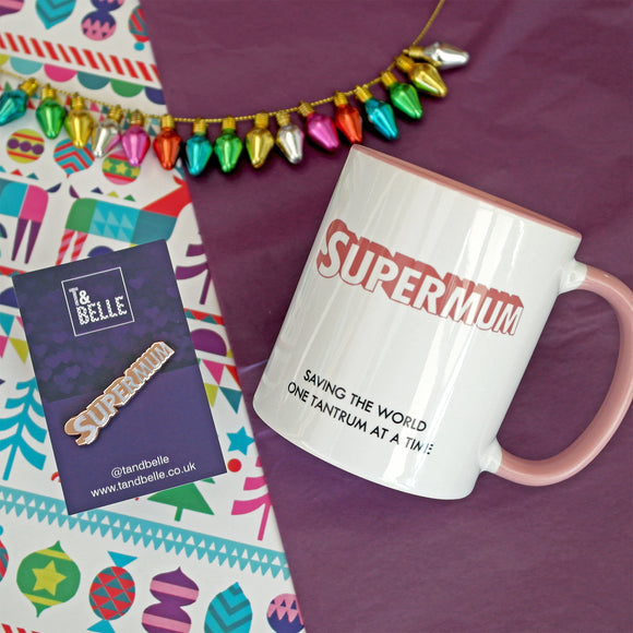 Supermum Ceramic Mug & Enamel Pin Gift Set