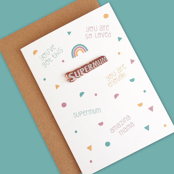 Supermum Greetings Card with Rose Gold and White Glitter Enamel Pin