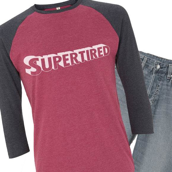 Supertired Recycled Organic Cotton Ladies 3/4 Sleeve T-shirt
