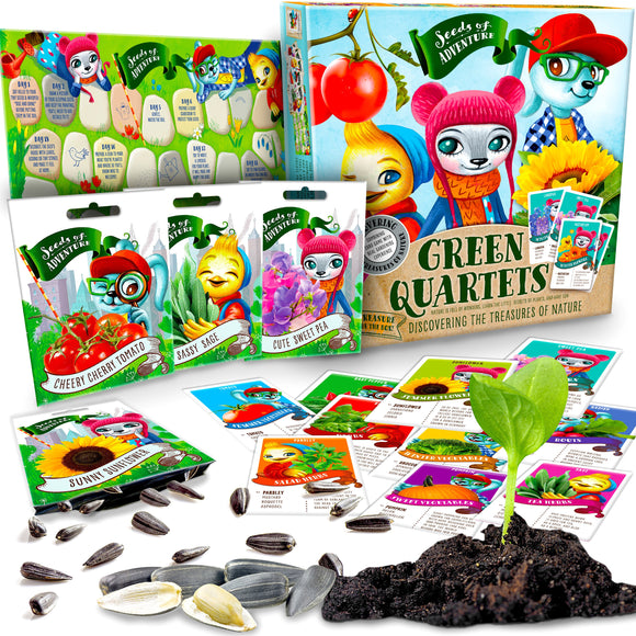 Quartet Go Fish Card Game with organic SEEDS