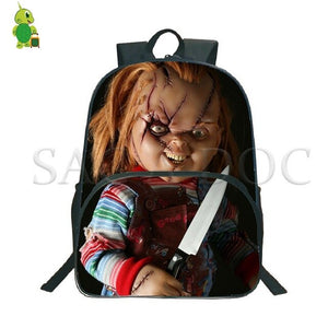 Horror Chucky Printed Backpack School Bags for Teenage Boys Girls Students Large Capacity Book Bags Women Men Travel Backpack