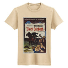 Load image into Gallery viewer, black sabbath horror movie poster khaki and white man t shirt