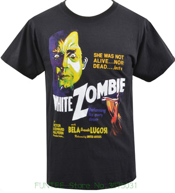 Mens Black T-shirt Bela Lugosi White Zombie Cult Horror