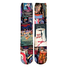 Load image into Gallery viewer, 80s Horror VHS Explosion collage Long sleeve pullover/socks/leggings/shirts (SEE ALL)