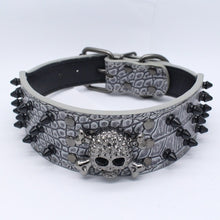 Load image into Gallery viewer, Skull leather spiked collars for your Dog 12 Patterns -  Halloween Pets Accessories