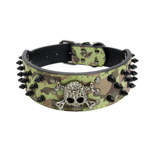 Skull leather spiked collars for your Dog 12 Patterns -  Halloween Pets Accessories