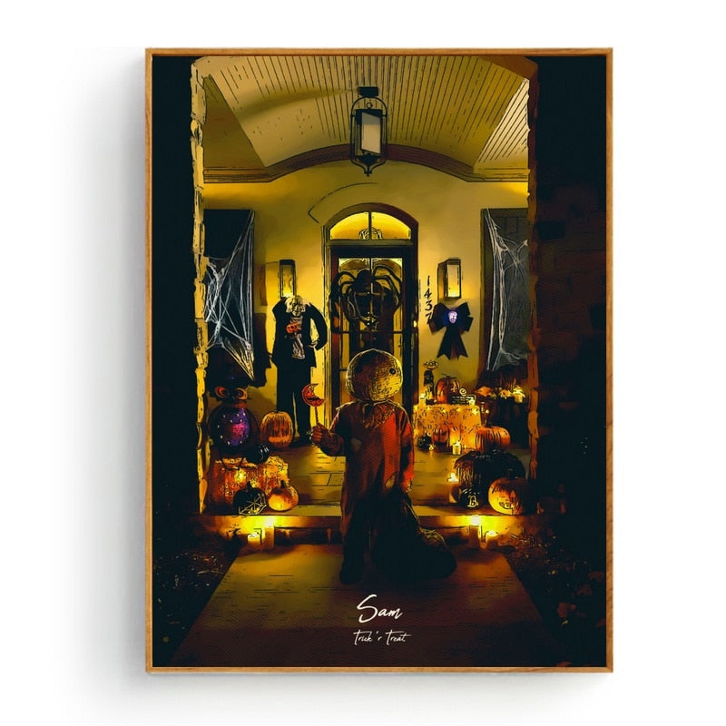 Trick r Treat Art Silk Fabric Poster
