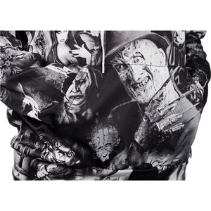 horror movie character collage hoodie