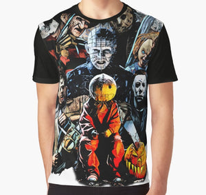 All Over Print 3D Tshirt Men Funny T Shirt Horror movie characters Sticker