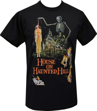 MENS BLACK T-SHIRT HOUSE ON HAUNTED HILL VINCENT PRICE