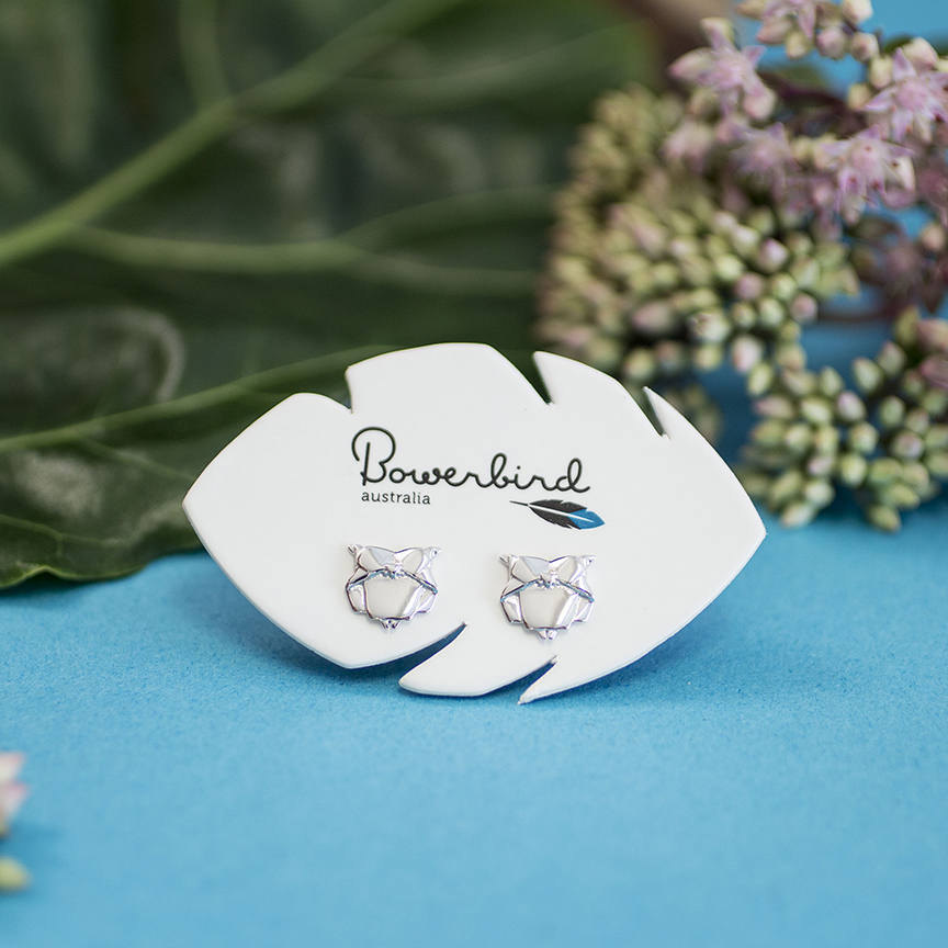 Owl Origami Rhodium Enhanced Sterling Silver Stud Earrings