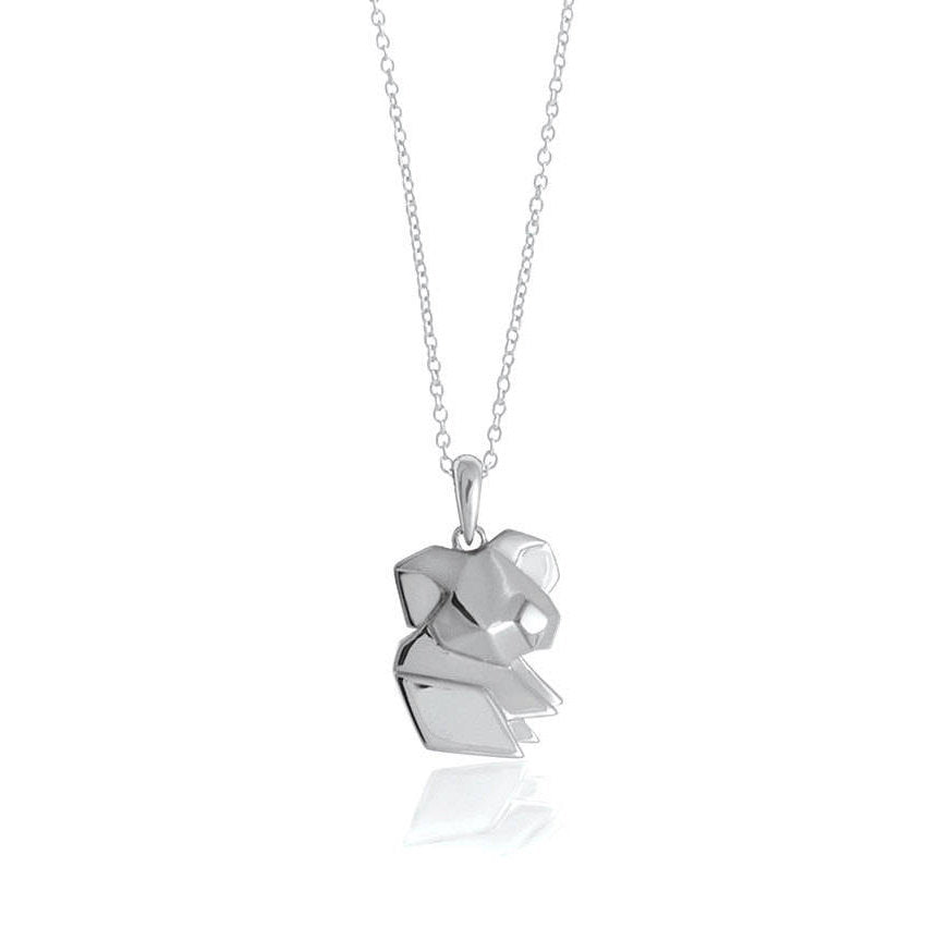 Koala Origami Rhodium Enhanced Sterling Silver Necklace 70-80cm