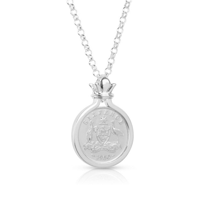 Australian Sixpence Coin Silver Pendant