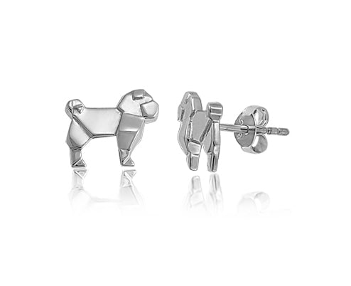 Origami Pug Stud Earrings