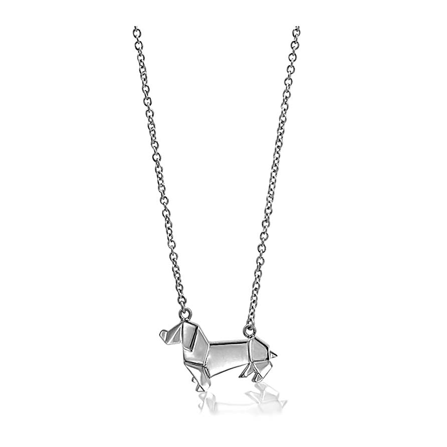Origami Sausage Dog Short Necklace
