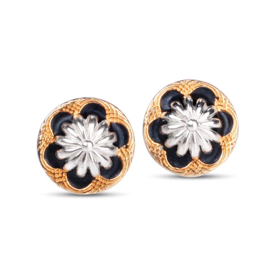 Miss Maud Sterling Silver & 18ct Gold Stud Earrings