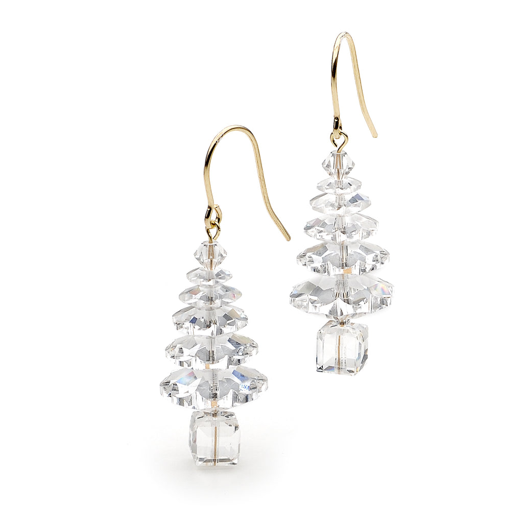 Classic Swarovski Crystal Elements Christmas Tree Gold Vermeil Earrings