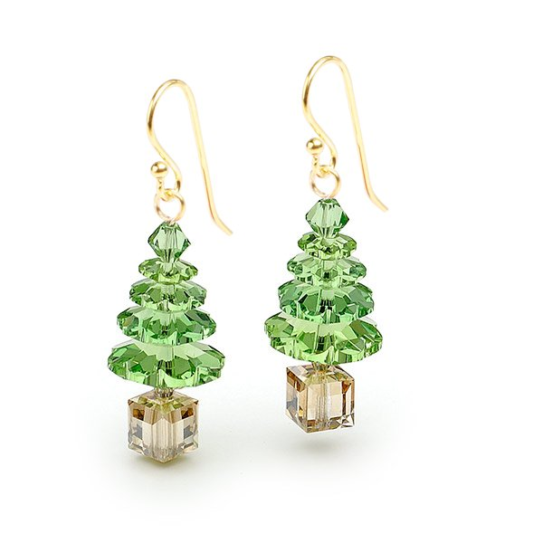 Green Swarovski Crystal Elements Christmas Tree Gold Vermeil Earrings