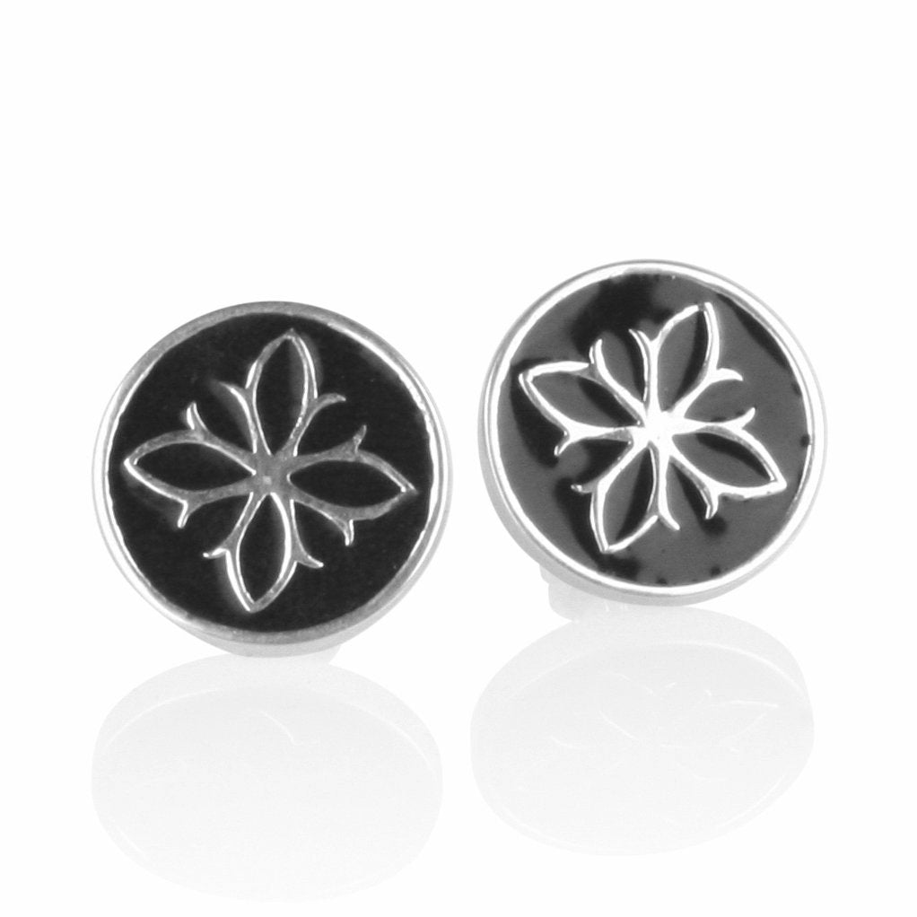 Fleur De Lis Enamel Stud Earrings