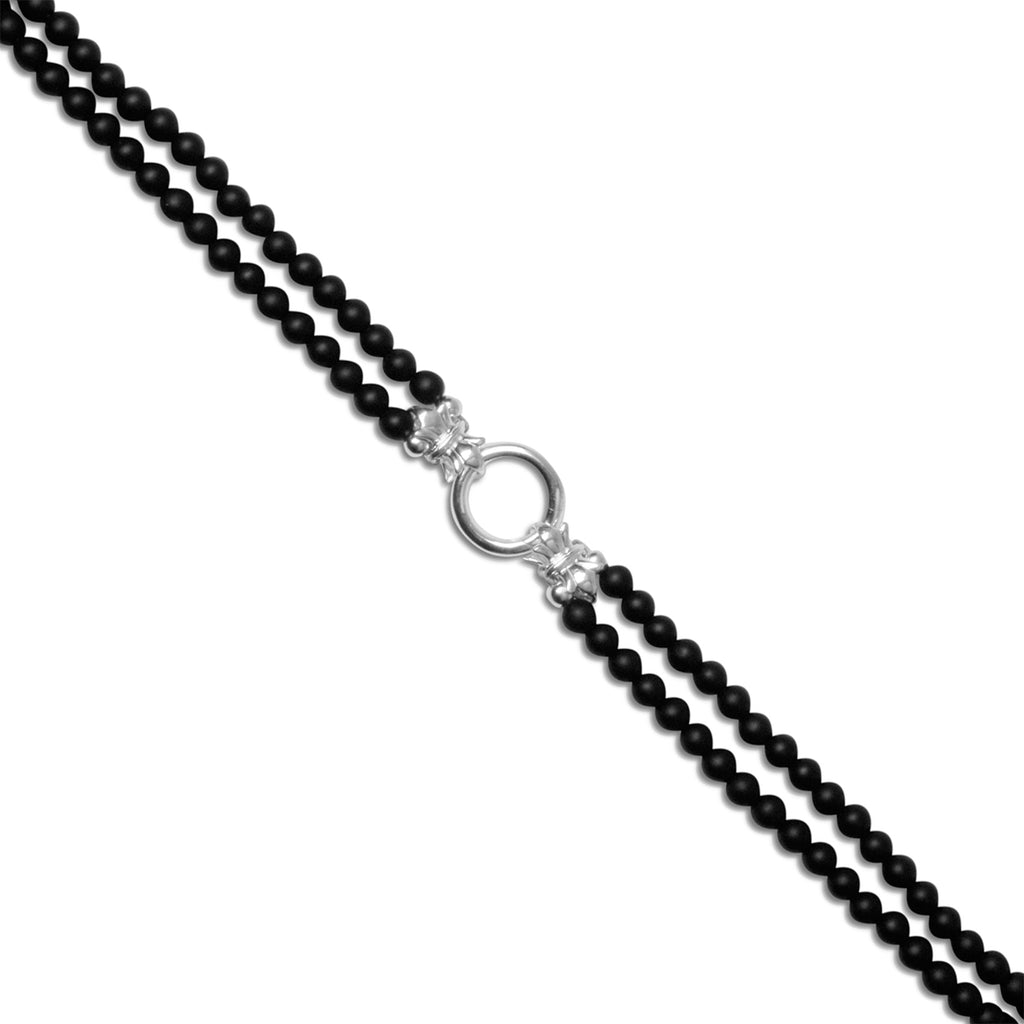 2 Strand Petite 'Ebony' Matt Black Onyx & Sterling Silver Necklace