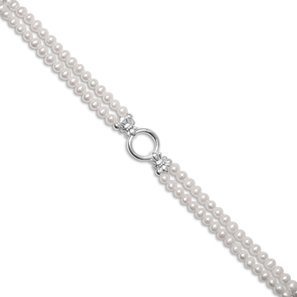49cm 2 Strand Petite 'Ivory' Freshwater Pearl & Sterling Silver Necklace