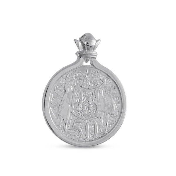 Australian 1966 Round Silver Fifty Cent Coin Pendant