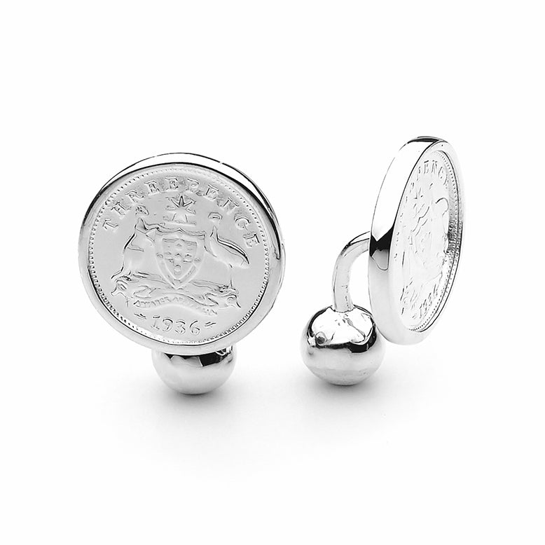 Australian Coat of Arms Threepence Coin Cufflinks