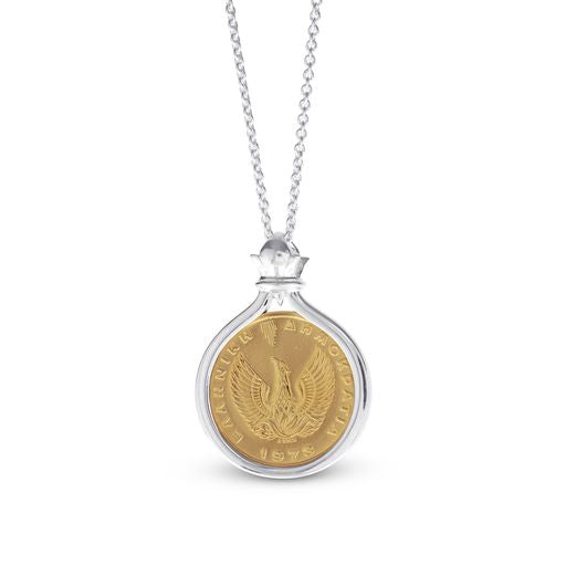 Restored Greek 50 Lepta Phoenix Gold Coin Pendant Set In Sterling Silver