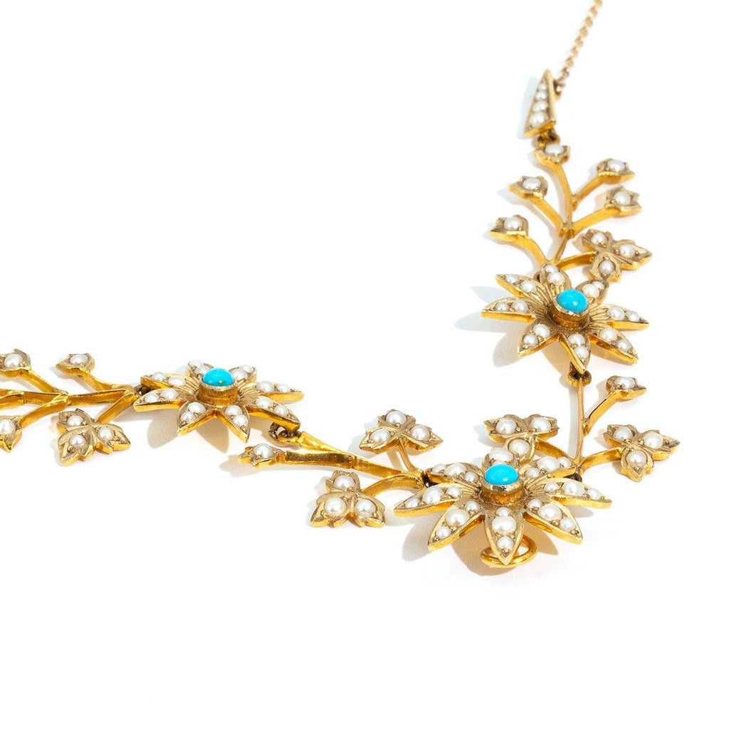 Addison Turquoise & Pearl Antique Necklet