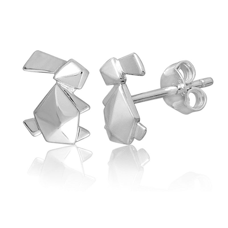 Bunny Origami Rhodium Enhanced Sterling Silver Stud Earrings