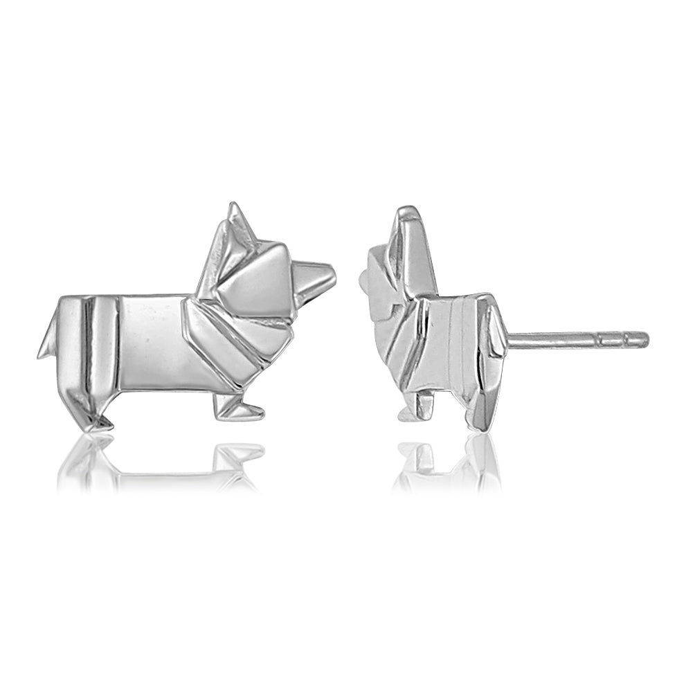 Corgi Origami Rhodium Enhanced Sterling Silver Stud Earrings