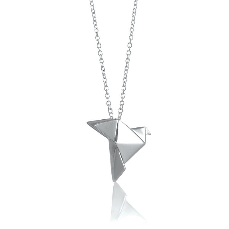 Dove Origami Rhodium Enhanced Sterling Silver Necklace 70-80cm