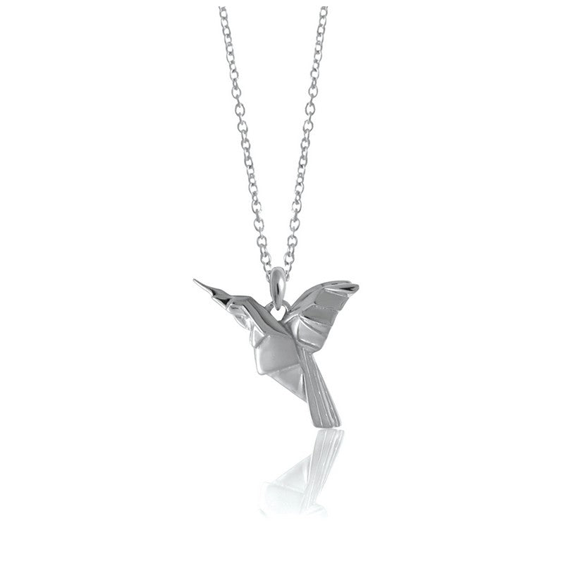 Hummingbird Origami Rhodium Enhanced Sterling Silver Necklace 70-80cm