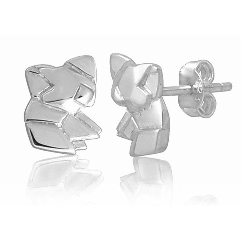 Koala Origami Rhodium Enhanced Sterling Silver Stud Earrings