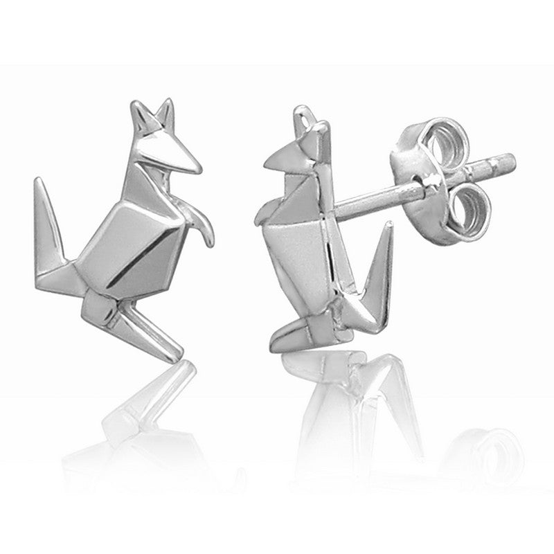 Kangaroo Origami Rhodium Enhanced Sterling Silver Stud Earrings