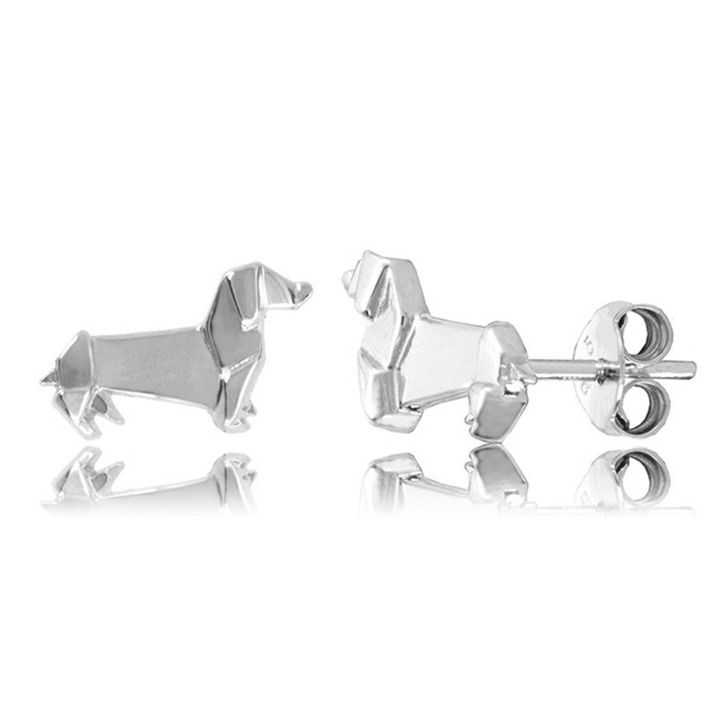 Sausage Dog Origami Rhodium Enhanced Sterling Silver Stud Earrings