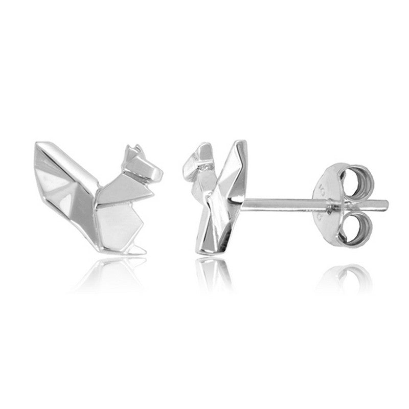 Squirrel Origami Rhodium Enhanced Sterling Silver Stud Earrings