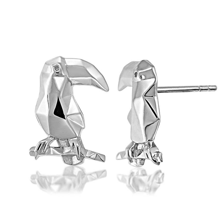 Toucan Origami Rhodium Enhanced Sterling Silver Stud Earrings