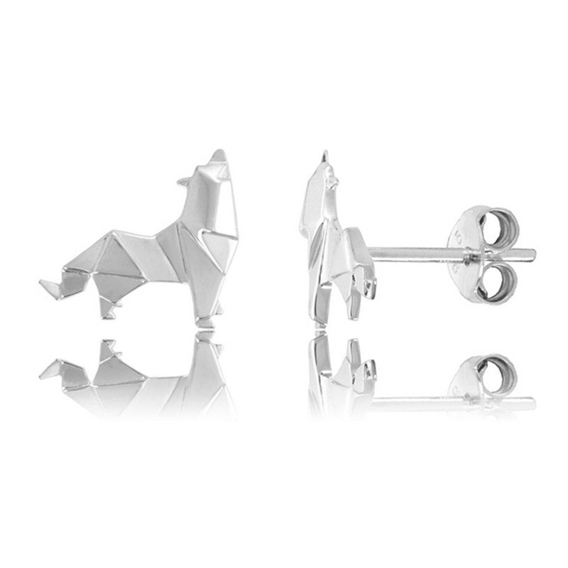 Wolf Origami Rhodium Enhanced Sterling Silver Stud Earrings