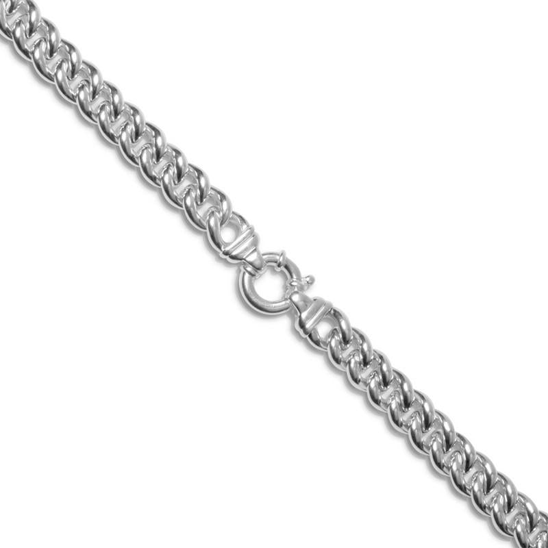 Italian Sterling Silver 12mm Hollow Curb Chain Bracelet