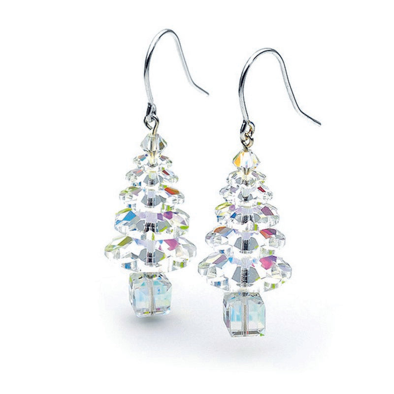 Auroa Borealis Swarovski Crystal Elements Christmas Tree Sterling Silver Earrings