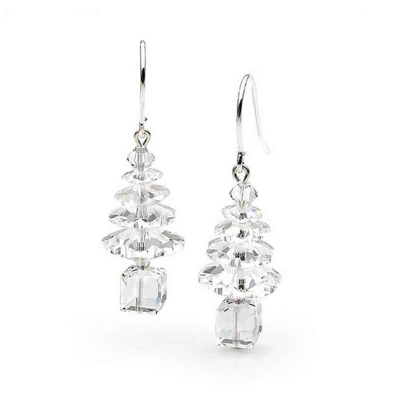 Classic Swarovski Crystal Elements Christmas Tree Sterling Silver Earrings