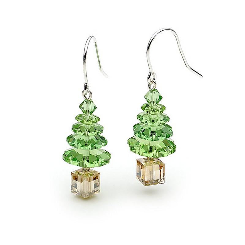 Green Swarovski Crystal Elements Christmas Tree Sterling Silver Earrings