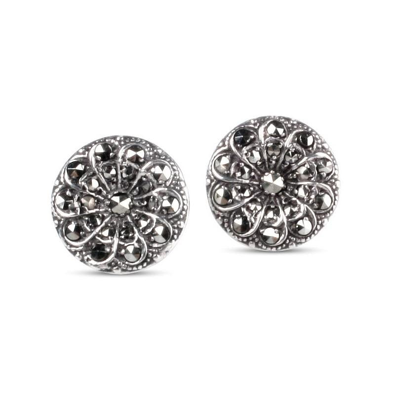 Emily May Sterling Silver & Marcasite Stud Earrings