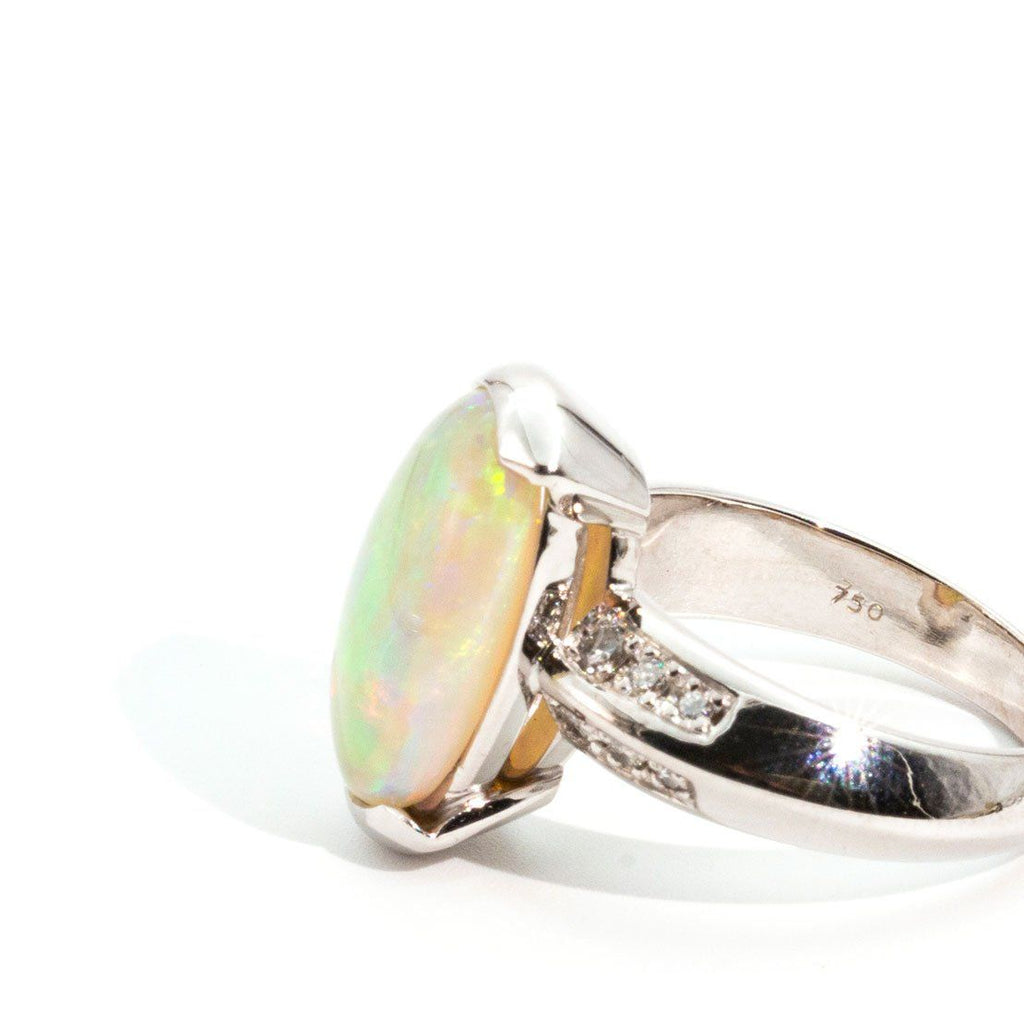 opal and diamond cabochon ring