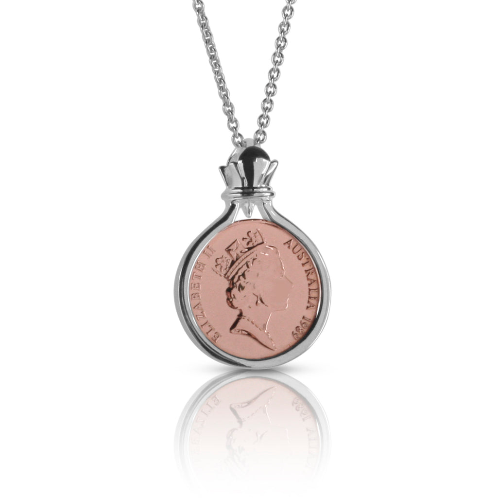 Australian Rose Gold & Silver One Cent Coin Pendant