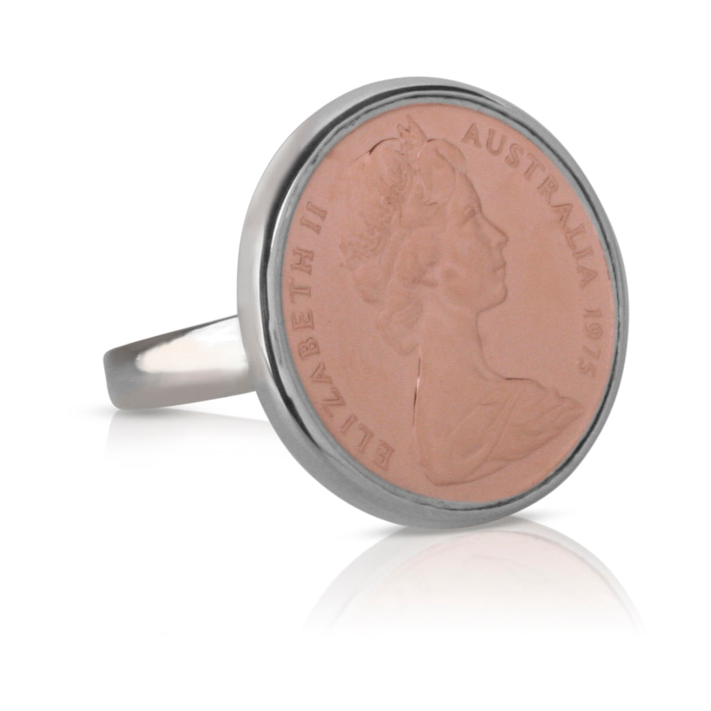 Queen Elizabeth Australian Rose Gold & Silver Two Cent Coin Ring